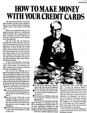 """Gary Halbert Ad #11 """"How To Make Money With Your Credit Cards"""""""