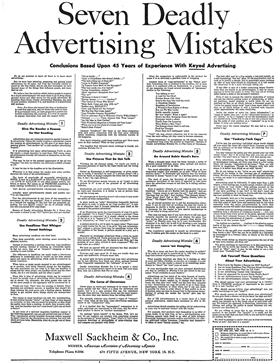 Seven Deadly Advertising Mistakes